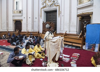 Valletta, Malta - April 14, 2017. Coptic Christian migrants from Ethiopia attend a Good Friday doxology inside a church at the city of Valletta in Malta.