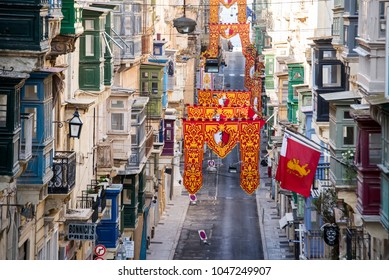 Valletta, Malta - April 16, 2017. A decorated neighborhood with traditional houses during the Easter Period.