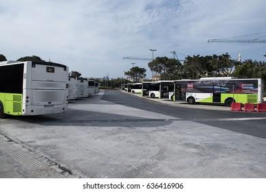Valletta, Malta - April 16, 2017. Buses parked in Valletta City Bus Station in Malta.