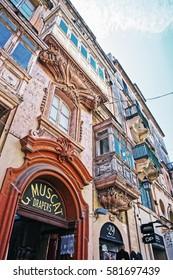 Valletta, Malta - April 3, 2014: Balconies in Valletta old town, Malta