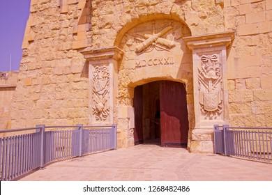 VALLETTA, MALTA - AUG 12, 2018 - Entrance of the Malta at War Museum, Valletta, Malta