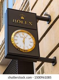 Valletta, Malta - August 13th 2019: The Rolex company logo on the exterior of their shopfront on Republic Street in Valletta, Malta.
