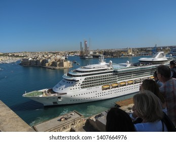 VALLETTA, MALTA - CIRCA MAY 2019: Royal Caribbean's Jewel of the Seas cruise ship leaving Valletta's harbour