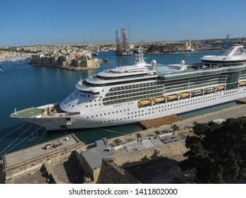 VALLETTA, MALTA - CIRCA MAY 2019: Royal Caribbean's Jewel of the Seas cruise ship harboured at Valletta's harbour