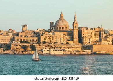 Valletta, Malta cityscape background