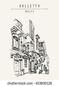 Valletta, Malta, Europe. Pedestrian street in old town. Nice historical buildings. Travel sketch drawing. Poster, postcard template, book illustration