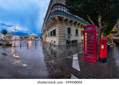 VALLETTA, MALTA - February 16, 2015: Saint George Square in Valletta, Malta. The City of Valletta is the capital of Malta and was officially recognised as a World Heritage Site by UNESCO in 1980.