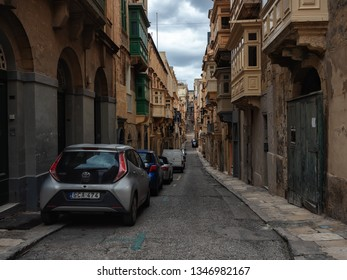 Valletta, Malta - February 23, 2019: winter streets of the old town