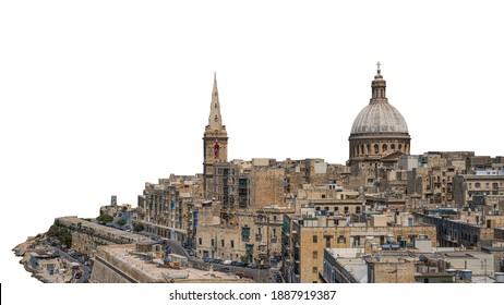 Valletta (Malta) isolated on white background