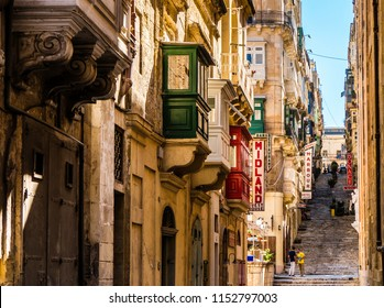 Valletta Malta, July 26 2018:Traditional architecture in Valletta Old Town in Malta