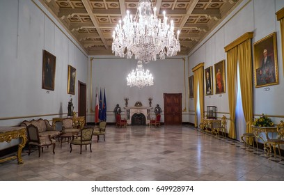 VALLETTA, MALTA - JULY 31, 2015: The interior of the Yellow room, which is now serves as a Conference room. Grandmaster's Palace. Valletta. Malta