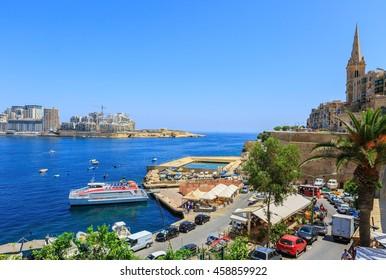VALLETTA, MALTA- JULY 4, 2016; Sliema Ferry from Valletta. The regular ferry service from Valletta to Sliema and return.