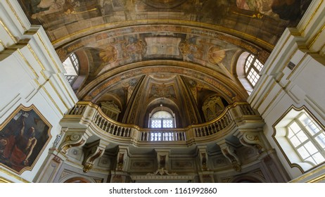 Valletta, Malta - July 4, 2018: The Church of Our Lady of Victory - Ceiling Painting and Balcony, Valletta's First Church 1566, Baroque Architecture