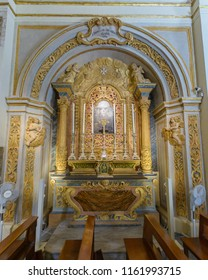 Valletta, Malta - July 4, 2018: The Church of Our Lady of Victory - Chapel A, S Joannes De Deo Miracu Clarus 1746, Valletta's First Church 1566, Baroque Architecture