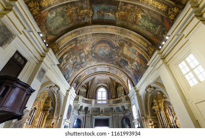 Valletta, Malta - July 4, 2018: The Church of Our Lady of Victory - Ceiling from Altar, Valletta's First Church 1566, Baroque Architecture