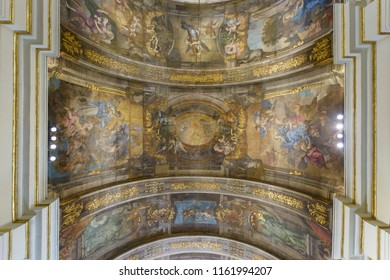 Valletta, Malta - July 4, 2018: The Church of Our Lady of Victory - Ceiling Paintings, Valletta's First Church 1566, Baroque Architecture