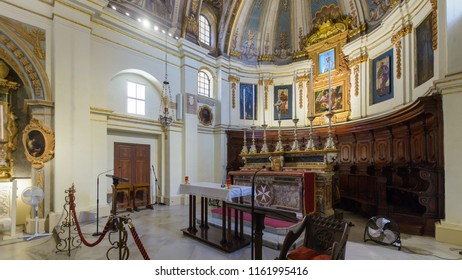 Valletta, Malta - July 4, 2018: The Church of Our Lady of Victory Altar - Left Side, Valletta's First Church 1566, Baroque Architecture