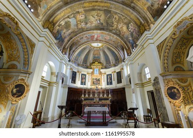 Valletta, Malta - July 4, 2018: The Church of Our Lady of Victory Altar and Ceiling, Valletta's First Church 1566, Baroque Architecture