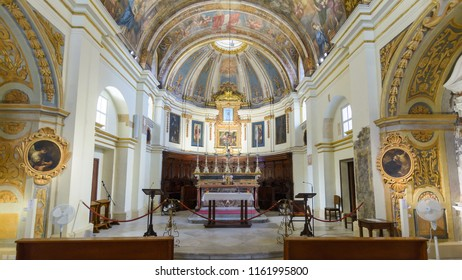 Valletta, Malta - July 4, 2018: The Church of Our Lady of Victory Altar, Valletta's First Church 1566, Baroque Architecture