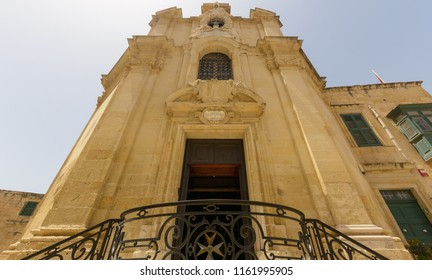 Valletta, Malta - July 4, 2018: The Church of Our Lady of Victory Entrance low angle, Valletta's First Church 1566, Baroque Architecture