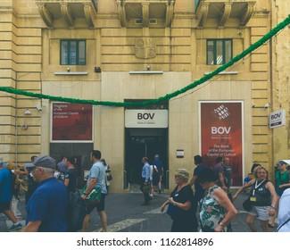 Valletta, Malta - July 4, 2018: Bank Of Valletta Branch on Republic Street Valletta, Summer 2018