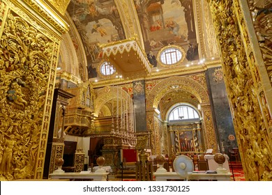 VALLETTA, MALTA - JUN 19 2018: Interiour of the beautiful catholic church Saint John in Valletta. Valletta, Malta, June 19, 2018