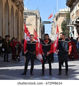 Valletta, Malta - June 25, 2017: Grand Parade in front of The Grand Master's Palace -  historical re-enactment of Maltese Order of the Knights of St. John military parade and Valletta Fort inspection