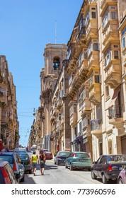 VALLETTA, MALTA - JUNE 26, 2012: Traditional old buildings in Valletta, the capital city of Malta.