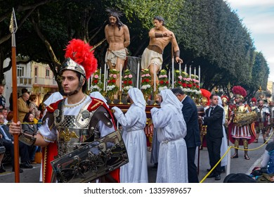 VALLETTA, MALTA - Mar 30, 2018: People dressed in biblical costumes take part in a parade during the Good Friday Procession.