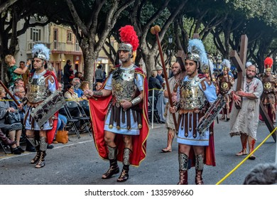 VALLETTA, MALTA - Mar 30, 2018: Men dressed up as Roman Soldiers participate in the procession in the Holy Week.
