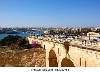 VALLETTA, MALTA - MARCH 30, 2017 - Elevated view of Senglia, Kordin and Grand Harbour, Valletta, Malta, Europe, March 30, 2017.
