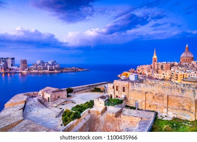 Valletta, Malta. Nightview of Marsamxmett Harbour and Silema city, Valletta.
