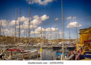 VALLETTA, MALTA - NOV 30, 2018 - Marina and waterfront of Vittoriosa, Malta