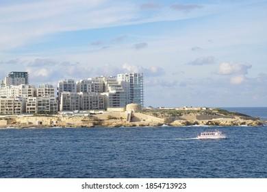 VALLETTA, MALTA - NOV 30, 2018 - Medieval waterfront fortifications of Valletta, Malta