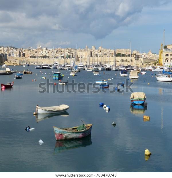 Valletta, Malta / Malta - November 2017: boats in Valletta