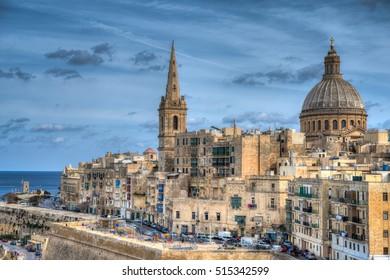 VALLETTA, MALTA - NOVEMBER 5 2016: View of Valletta and the Carmelite Church. Valletta is the capital city of Malta and a UNESCO world heritage city.