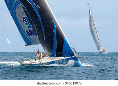 """VALLETTA, MALTA - OCTOBER 17, 2015: Start of sailing yacht """"Arkas"""" in the Rolex Middle Sea Race. Yachting, Sailing, Malta on October 17, 2015"""