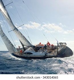 """VALLETTA, MALTA - OCTOBER 17, 2015: Start of sailing yacht """"Guardian Angel"""" in the Rolex Middle Sea Race. Yachting, Sailing, Malta on October 17, 2015"""