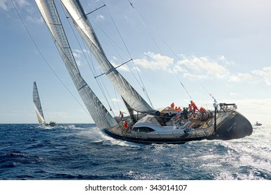 "VALLETTA, MALTA - OCTOBER 17, 2015: Start of sailing yacht ""Guardian Angel"" in the Rolex Middle Sea Race. Yachting, Sailing, Malta on October 17, 2015"
