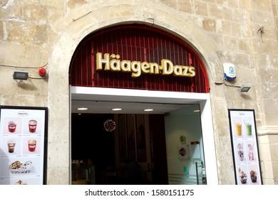 Valletta, Malta - October 24, 2019: Häagen-Dazs store. Starting with only three flavors: vanilla, chocolate, and coffee, Häagen-Dazs is an American ice cream brand