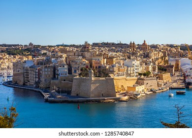Valletta, Malta, on January 8, 2019. A view from the survey platform on the picturesque gulf and Three cities