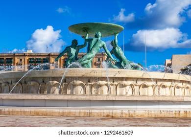 Valletta, Malta, on January 8, 2019. Picturesque fountain Triton