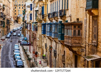 Valletta, Malta, on January 8, 2019. The street in the old city. characteristic picturesque balconies are one of symbols of Malta