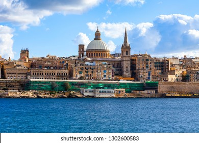 Valletta, Malta, on January 8, 2019. A traditional panoramic view of the city from the sea.