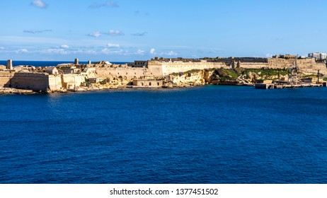 Valletta, Malta, on January 8, 2019. A view from the embankment on the bay and Manoel island