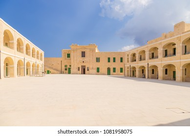 VALLETTA, MALTA - SEP 12, 2016: Inner courtyard at St. Elma Fort