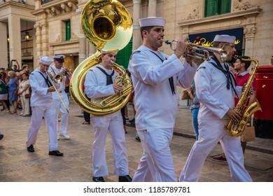 VALLETTA, MALTA - September 2018: Independence day parade in Valletta. Musicians on parade in central street of Valletta, Malta