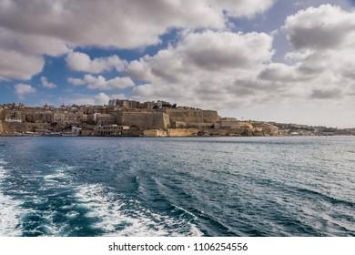 Valletta, Malta, skyline od capitol city with blue cloudy sky as background