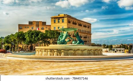 Valletta, Malta: Triton Fountain, a symbol of the city