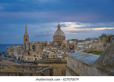 Valletta in the morning with Basilica and St. Paul's Anglican Cathedral, Malta